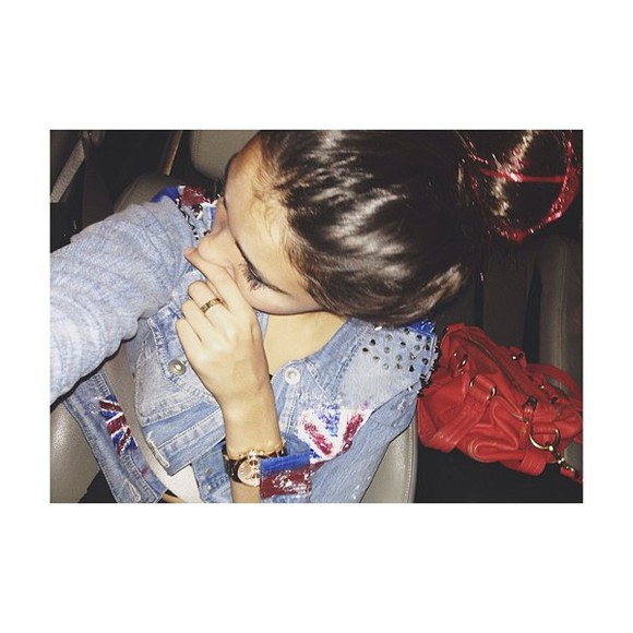 jacket madison beer uk flag denim vest