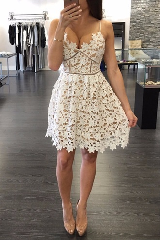 dress white lace winter wonderland design dress