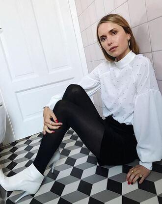 blouse skirt mini skirt black black skirt pernille teisbaek blogger ankle boots black and white