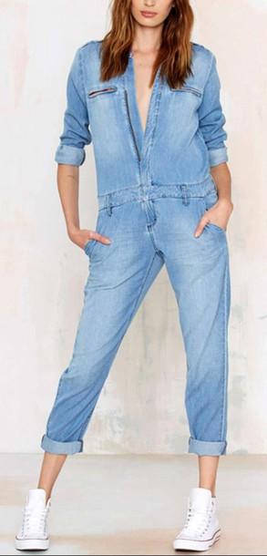 cfb7b98cc1f romper sky blue light blue light blue jeans boyfriend boyfriend jeans  boyfriend jumpsuit boyfriend romper long