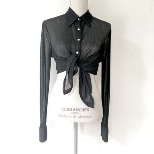 blouse black collar tie in front button down shirt
