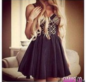 dress,black,studs,cute dress,little black dress,party,blonde hair,fashion,outfit,mode