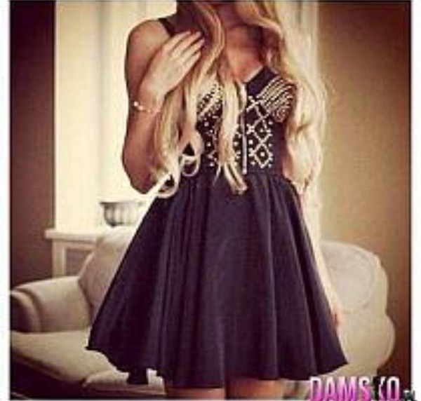 dress black studs cute dress little black dress party blonde hair fashion outfit mode