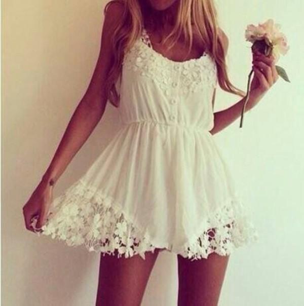 white dress summer dress hippie floral short dress