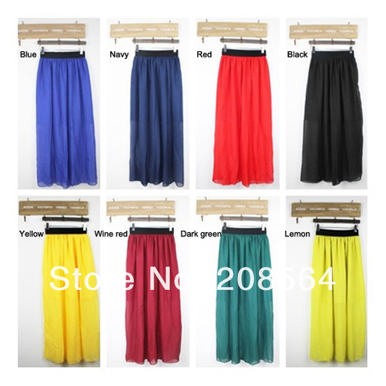 New Arrival Spring Summer Chiffon Long Maxi Skirt Puff Beach High Waist Elastic Waistband Skirts   245-in Skirts from Apparel & Accessories on Aliexpress.com