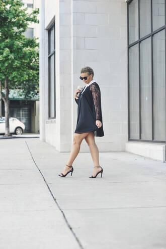 fashionably lo blogger dress shoes bag sunglasses long sleeves mini dress sandals black sandals lace dress black dress