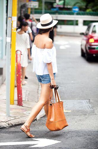 blouse boho bohemian hipster vintage retro fedora vaca white off the shoulder off shoulder top bag shoes