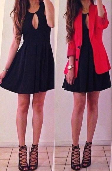 red jacket jacket little black dress