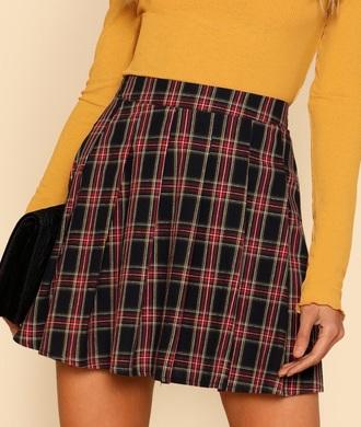 skirt red girly plaid plaid skirt gingham black checkered