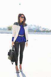 seams for a desire,blogger,sunglasses,belt,ruffle,blue,jacket,coat,sweater,jeans,shoes,bag,ruffle sweater