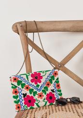 bag,flowers,floral,chain strap,envelope bag,bohemian,gypsy,crossbody bag,evening bag