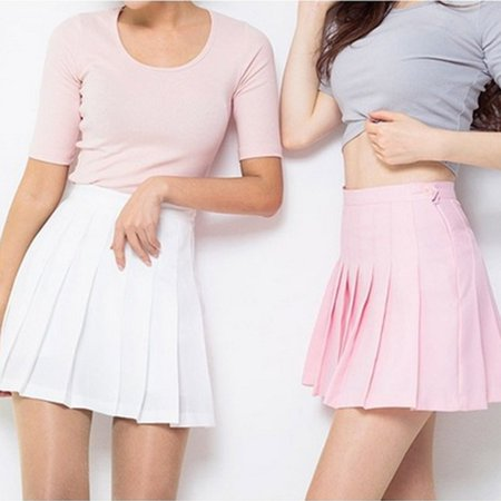 EFINNY - Women High Waist Zip Slim Tennis Plain Skater Pleated Short Skirts School Girls Mini Skirt - Walmart.com