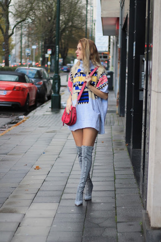 from brussels with love blogger shoes bag sweater boots over the knee boots sweater dress crossbody bag fall outfits