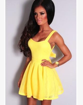dress skater dress yellow dress yellow