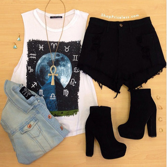 t-shirt short black boots cut off shorts boots accessories shorts jewels shoes science tank top