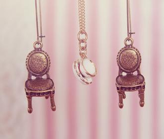 jewels pendant necklace cup chair pastel pink vintage super cute