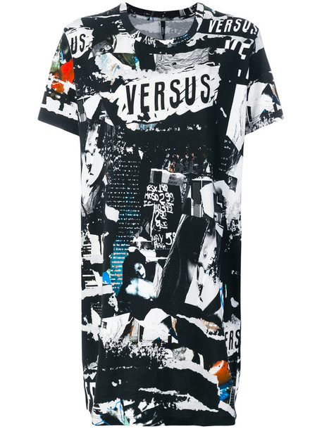 Versus - longline printed T-shirt - women - Cotton/Spandex/Elastane - M, Black, Cotton/Spandex/Elastane