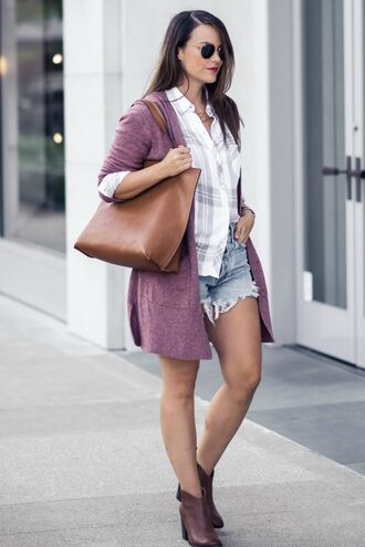 live more beautifully blogger shirt cardigan shorts bag shoes jewels sunglasses tote bag fall outfits ankle boots denim shorts