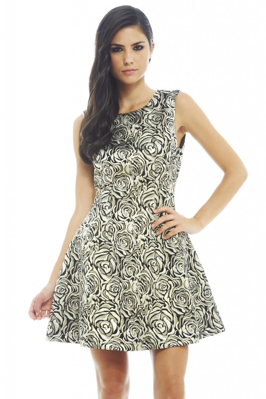 Gold and Black Rose Metallic Kick Multicolored Dress
