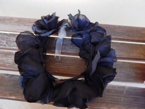 hair accessory black roses flower crown black roses flower crown floral halo roses black halloween halloween accessory