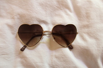 sunglasses heart brown sunnies love fashion style mode clothes pretty herat cute gold swimwear