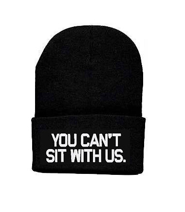 You can't sit with us beanie knit hat lindsay by urfashionistas