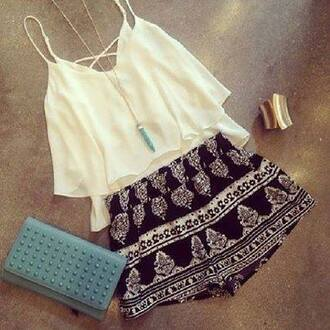 shorts tribal pattern summer boho hippie style beautiful black white black and white bandw print ethnic blouse tank top