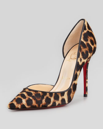 Christian Louboutin Iriza Leopard-Print Calf Hair Red Sole Pump - Neiman Marcus