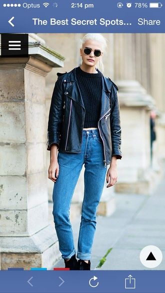 jacket sunglasses round sunglasses denim vintage denim blue jeans high waisted indie hipster leather jacket leather biker jacket cool cool outfit outfit staples cool girl style jeans