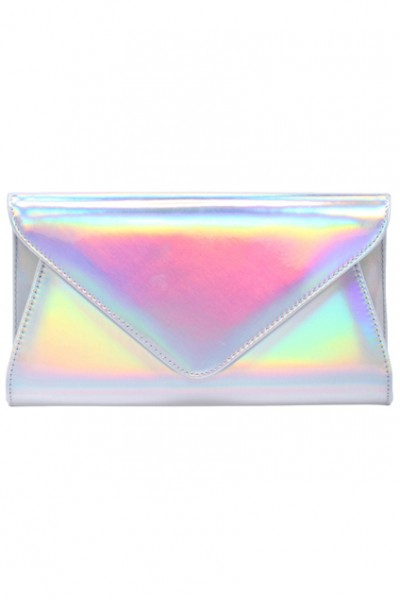 KCLOTH SILVER HOLOGRAM CLUTCH BAG Envelope Clutch Bag with Chain