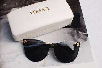 sunglasses versace black summer white fashion style retro sunglasses medusa contacts vintage designer lady gaga gold details