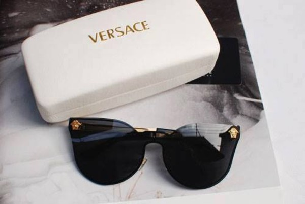 sunglasses versace medusa black contacts vintage designer lady gaga gold details summer white fashion style retro sunglasses