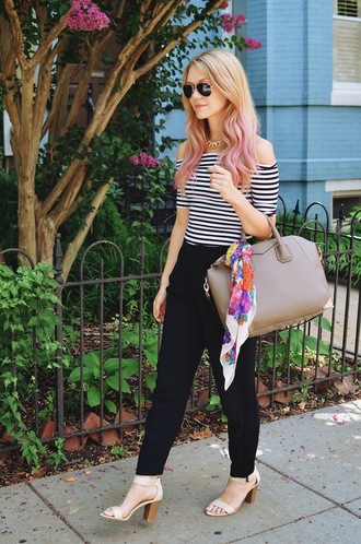 miss lyle style top sunglasses bag scarf silk scarf givenchy givenchy bag nude bag stripes aviator sunglasses blonde hair pants black pants chain necklace choker necklace flowers floral hairstyles tie dye hair shoes nude nude shoes sandals sandal heels antigona givenchy antigona beige