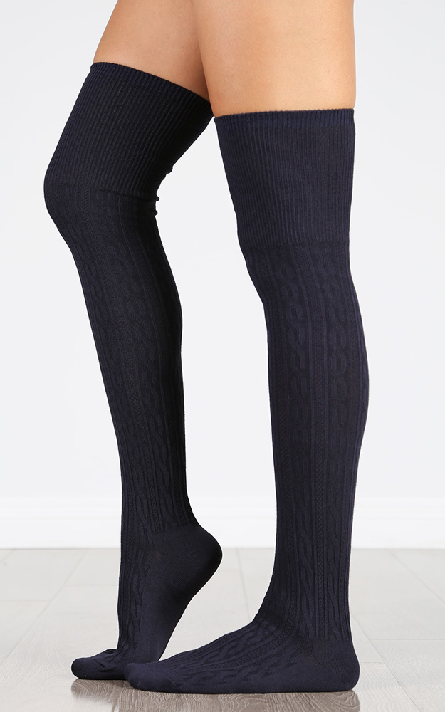 Cable Knit OTK Socks | MakeMeChic.com