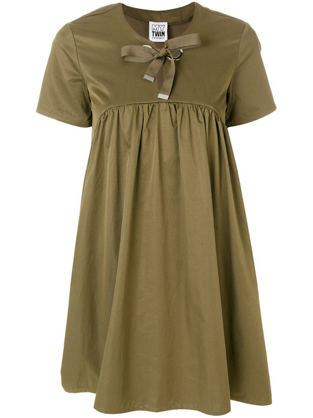 dress shift dress bow women cotton green