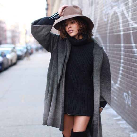 hat floppy hat coat navy knit grey coat wool hat navy winter outfits winter streetstyle girly dress sweater