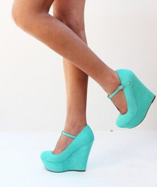Shoes: sea green shoes, wedge heels, ankle strap heels, closed toe ...