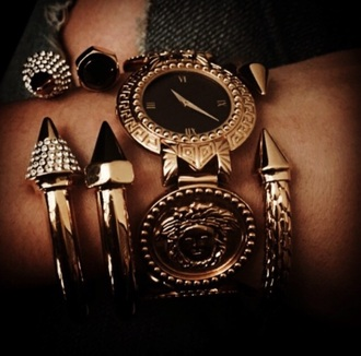 jewels gold watch jewelry bracelets spikes watches for women jewelry bracelets stacked bracelets spiked bracelet cuff bracelet edgy titan