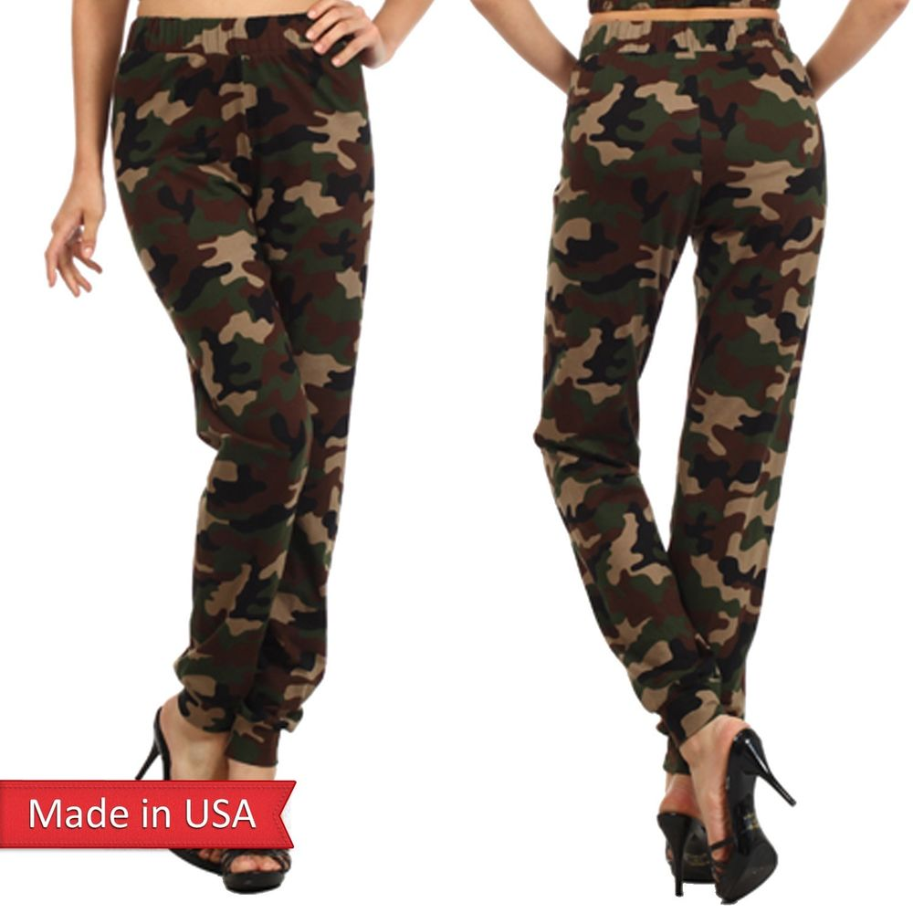 Army Green Camouflage Camo Print High Waist Jogger Jogging Pants Leggings Bottom