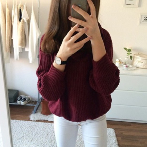 Sweater: red, burgundy, winter outfits, tumblr, tumblr outfit ...