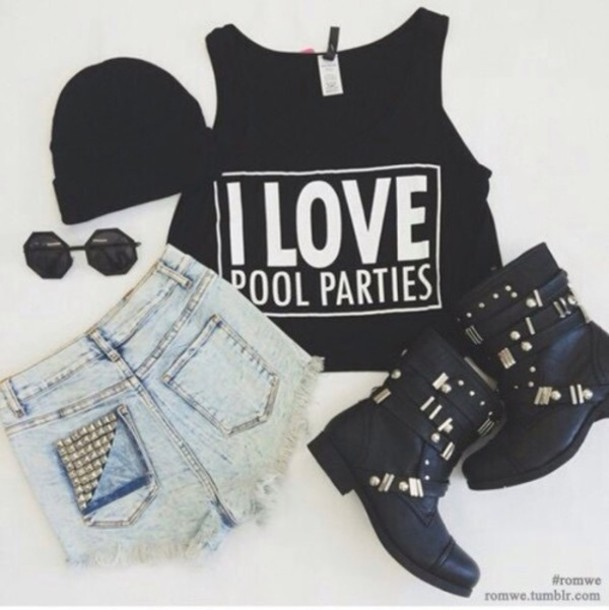 tank top shorts hat shoes