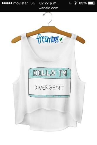 shirt divergent white top crop tops