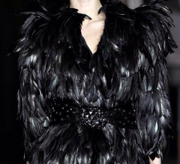 dress black fur feathers texture