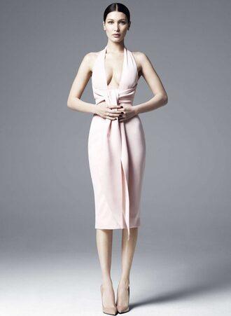 dress bella hadid midi dress pumps plunge dress model nude dress nude