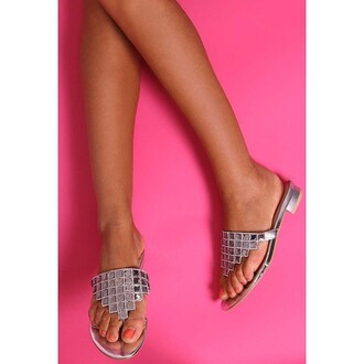 shoes pink boutique flip-flops silver