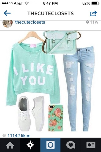 sweater cute sweater jeans skinny jeans denim cute clothes bag white shoes light denim shoes mint phone cover cambridge satchel