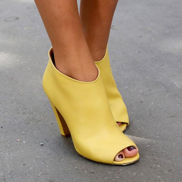 shoes, yellow high heels, peep toe