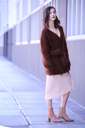 inspades blogger sweater skirt jewels shoes brown sweater fuzzy sweater winter outfits ankle boots midi skirt