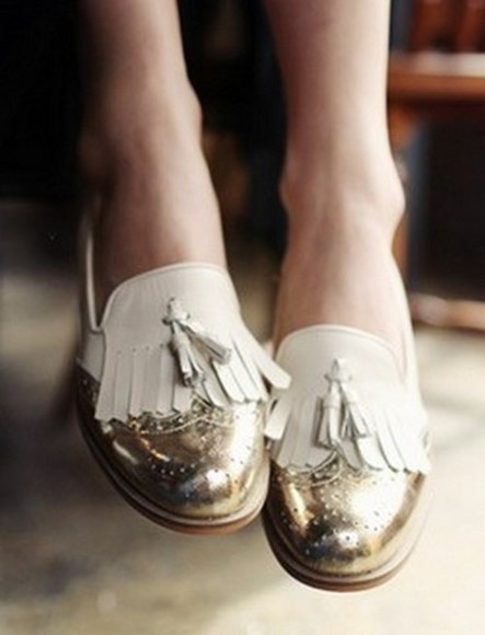 shoes oxfords preppy loafers gold