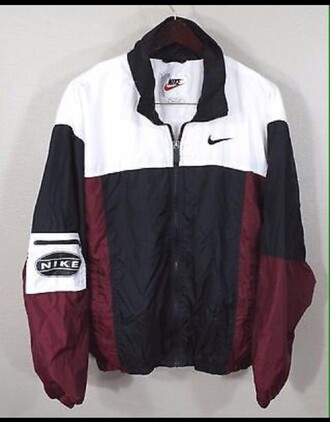 jacket nike old-school black and white colorblock nike windbreaker nike jacket vintage bomber jacket vintage windbreaker white red black coat vintage nike windbreaker